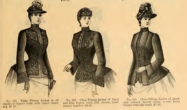 1889 short jackets ladies Victorian era