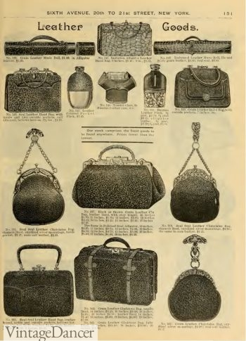 Victorian purses- 1890 textured leather handbags, travel bags and chantelaine bags