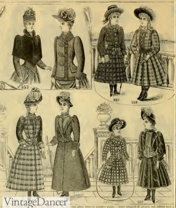 Victorian kids clothing 1890 girls jackets, coats, dresses