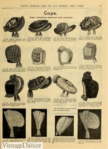 1890 Victorian ladies house caps hats bonnets Click to see more Victorian hats pictures.