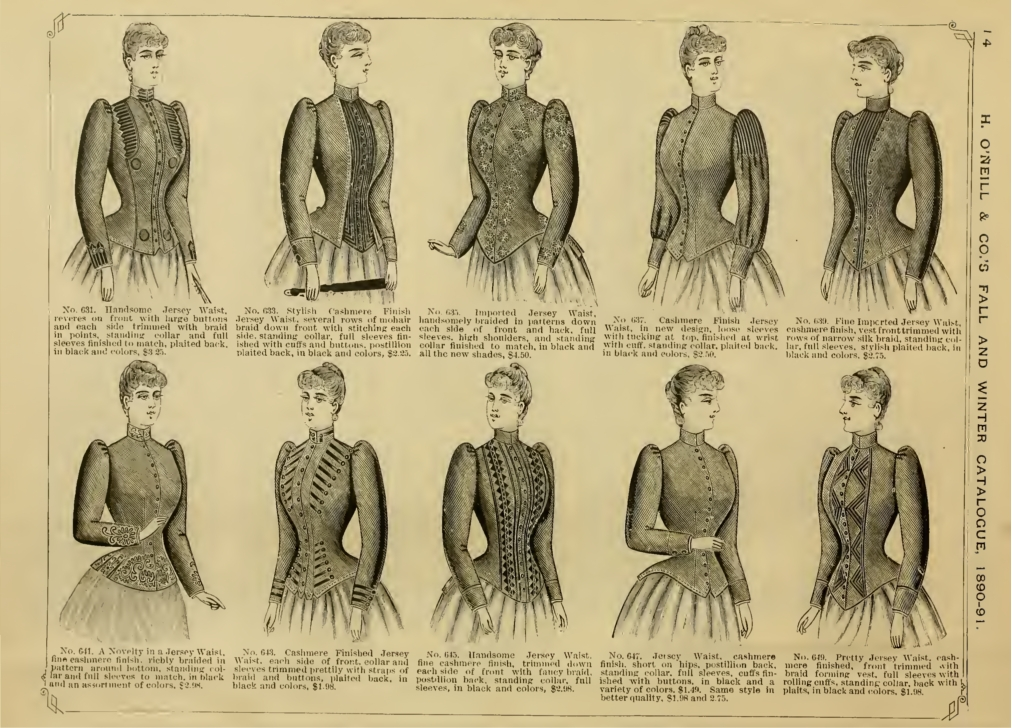 1890 short jackets, high neccks