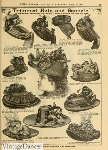 1890 mixed shape hats