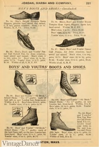 Victorian era 1890s boys boots and shoes, children and kids