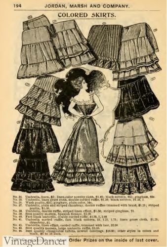 1897 ruffled petticoats Victorian turn of the century styles