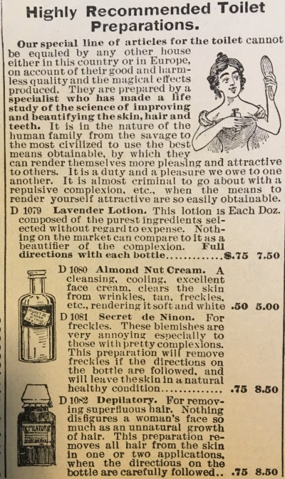 1897 face powders, tonics, lotions in Sears catalog
