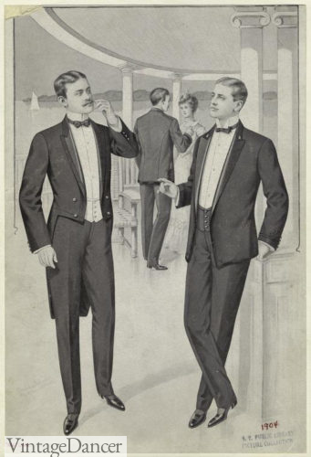 1904 tuxedo tailcoat and dinner jacket side by side Victorian and early Edwardian eras.