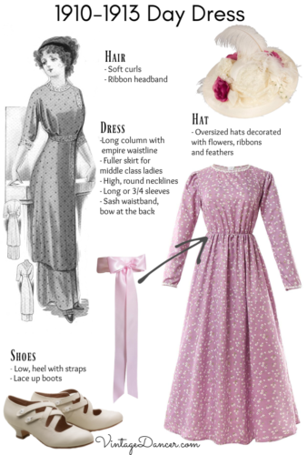 1910-1913 day dress Titanic middle class daytime dress costume outfit DIY pin at VintageDancer