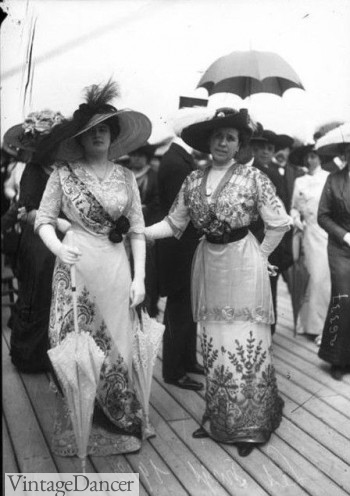 1910s outfits on a cruise ship similar to the Titanic