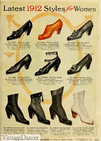 1912 ladies boots and shoes, Titanic shoes