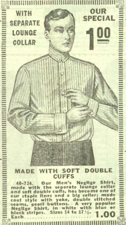 1913 men's Neglige shirt with attached soft collar
