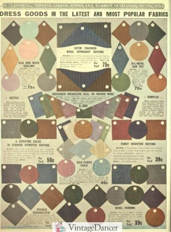 1913 wool/silk suiting, corderoy, cotton broadcloth fabrics materials of the Edwardian Titanic era