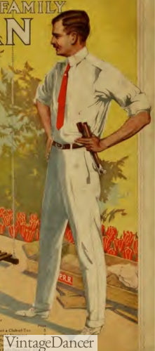 1915 mens white flannel summer pants