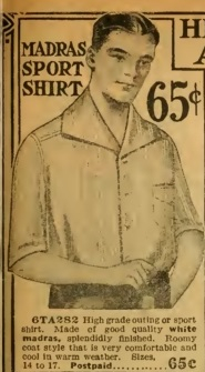 1915 men's madras sport shirt