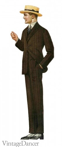Edwardian men's suit fashion at vintagedancer.com