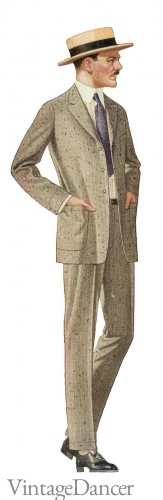 1917 Men's Summer Suit with Straw Boater Hat