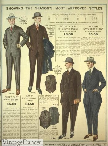 1918, Edwardian Men's Suits and Vests