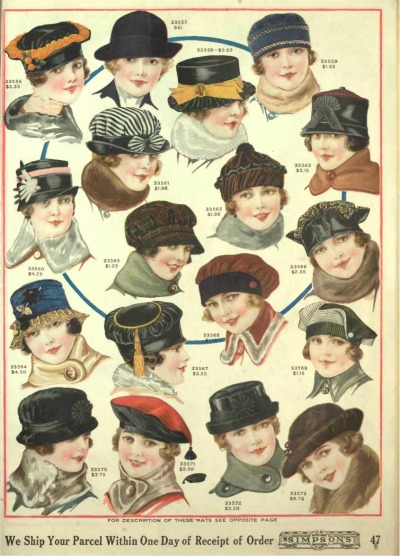 1918 womens hats in winter