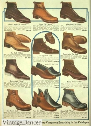 1918 Edwardian men's Boots and Shoes