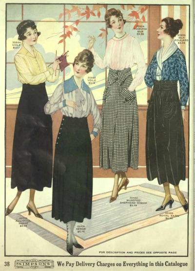 Edwardian blouses and skirts Mr Selfridge 1919