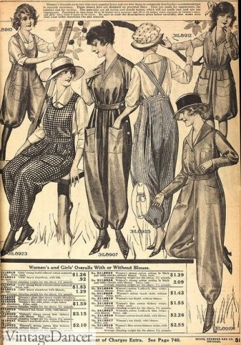 1918 Women's overalls or bloomer dresses