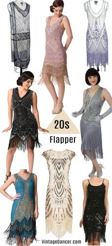 1920s flapper costumes, quality flapper dresses, flapper style dresses, fringe flapper dresses, and beaded flapper dresses at VintageDancer.com/1920s