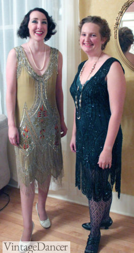 1920s reproduction dresses (Me on the Right wearing a Deco Haus dress and lauren (L) wearing a Unique vintage dress
