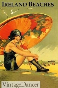 1920s Swimsuit, parasol, stockings and beach shoes