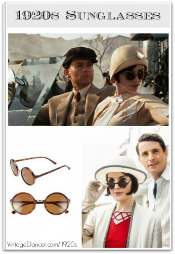 1920s women's sunglasses 1920s sunglasses as seen in Great Gatsby and Downton Abbey. Shop 1920s style round frame sunglasses at VintageDancer.com