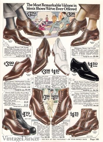 1922 men's boots and shoes- notice the pointed toes
