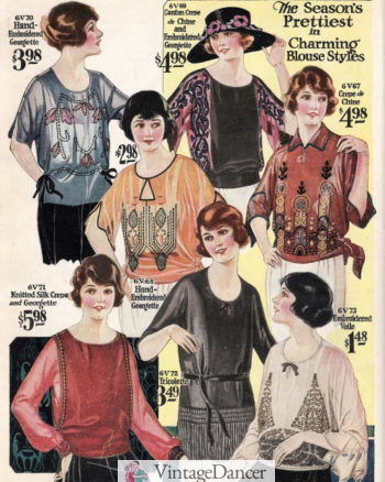 1922 silk crepe de chine and georgette emboirdered blouses