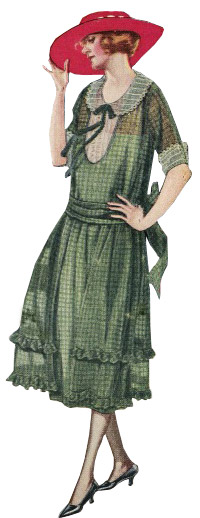 1922 day dress with sash at the natural waist