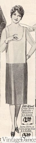 1927 knife pleated skirt (sides only) attached to a slip top.