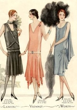 1927 evening dresses, drop waist, hanky hem and side gathered designs