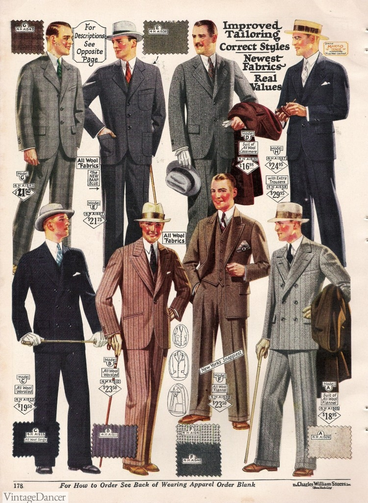 1920s fashion for men- suits. Learn more at VintageDancer.com