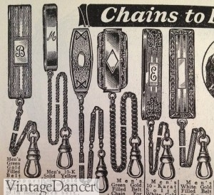 1920s pocket watch belt chain