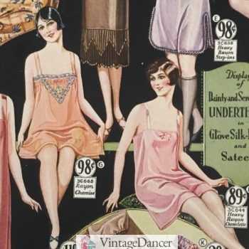 1928 chemises (shorter and looser than a long slip) worn under corsets