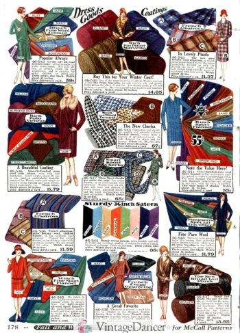 1928 dress and coat fabrics