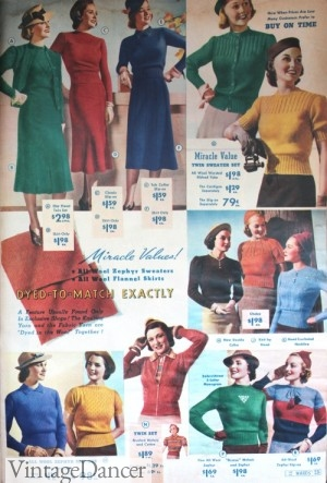 1930s Sweaters Styles and Colors