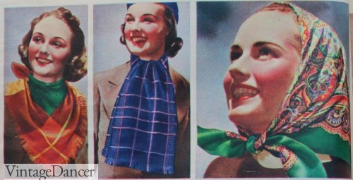 1930s scarves tied around the head or neck