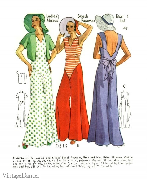 1930s beach pajamas. Crazy and colorful.