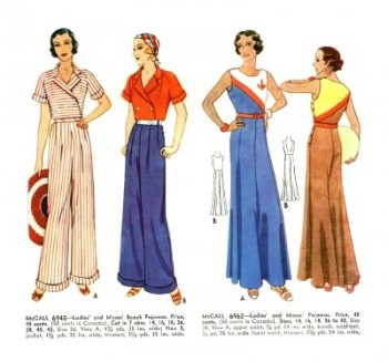 1930s beach pajamas, overalls and jumpsuits in nautical colors
