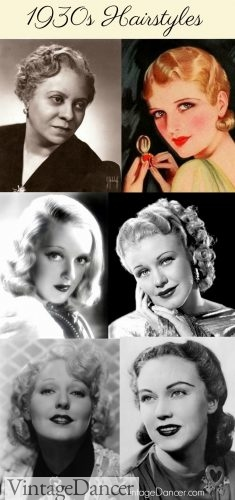 1930s hairstyles for short and long, curly and waved.