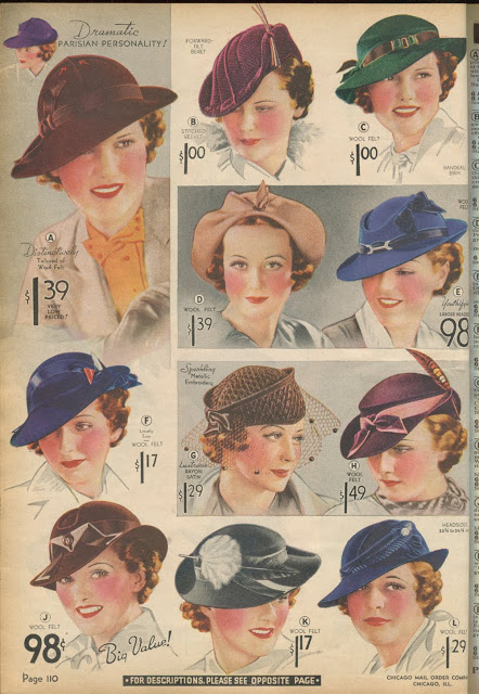 Late 30s hats with decoration inspired by the historical past