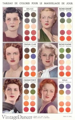 1930s daytime makeup colors for every hair color