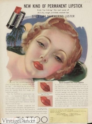 1930s bee stung lips - 1930s makeup ad for Tattoo