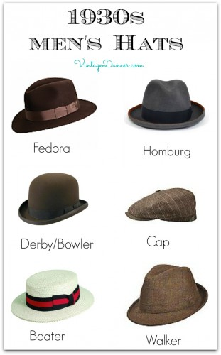 1930s Men's hat Styles. Learn more and shop at VintageDancer.com