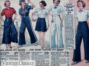 1937 Wide Leg Pant, Shorts and matching blouses