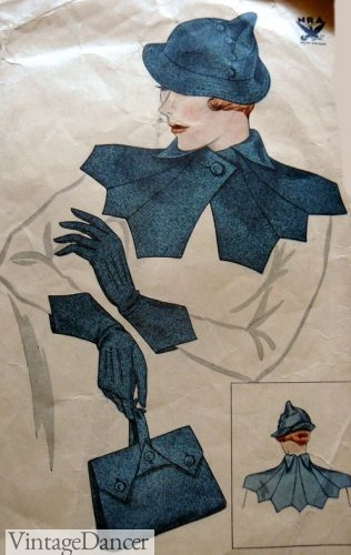 1930s sewing pattern for accessories including a finger strap bag