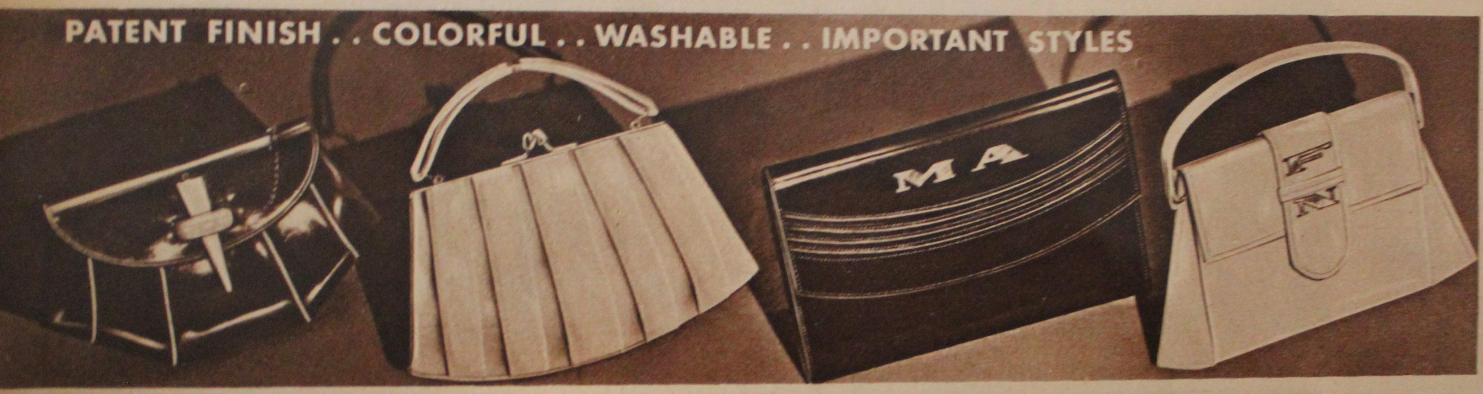 1930s The Two Bags On Right Feature Monogram Letters In Silver Or Gold