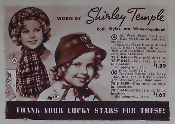 1930s Children's Shirley Temple Hats